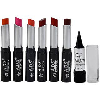 ADS Glossy Lipstick Pack of 6 And Free Kajal-GPTGU-B1