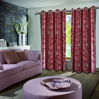 Premium Quality Fabric Fancy & Designer  2 Piece Set of Eyelet Polyester Decorative Door Curtain by ODHNA BICHONA -7Ft,Maroon OB-005_7ft