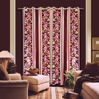 Premium Quality Fabric Fancy & Designer  2 Piece Set of Eyelet Polyester Decorative Long Door Curtain by ODHNA BICHONA -9Ft,Maroon OB-008_9ft