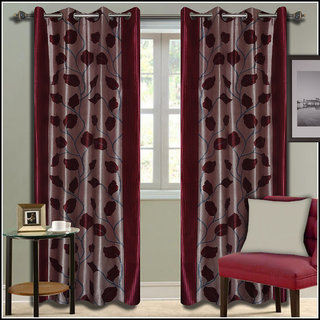 Premium Quality Fabric Fancy & Designer  2 Piece Set of Eyelet Polyester Decorative Long Door Curtain by ODHNA BICHONA -9Ft,Maroon OB-017_9ft