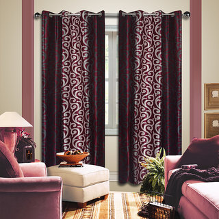 Premium Quality Fabric Fancy & Designer  2 Piece Set of Eyelet Polyester Decorative Long Door Curtain by ODHNA BICHONA -9Ft,Maroon OB-023_9ft