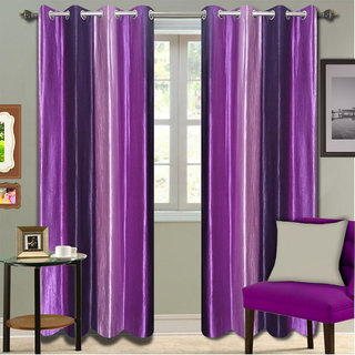 Premium Quality Fabric Fancy & Designer  2 Piece Set of Eyelet Polyester Decorative Long Door Curtain by ODHNA BICHONA -9Ft,Voilet OB-028_9ft