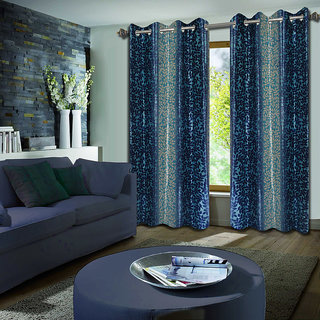 Premium Quality Fabric Fancy & Designer  2 Piece Set of Eyelet Polyester Decorative Long Door Curtain by ODHNA BICHONA -9Ft,Blue OB-075_9ft