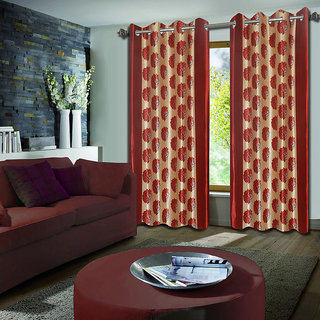 Premium Quality Fabric Fancy & Designer  2 Piece Set of Eyelet Polyester Decorative Long Door Curtain by ODHNA BICHONA -9Ft,Red OB-077_9ft