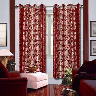 Premium Quality Fabric Fancy & Designer  2 Piece Set of Eyelet Polyester Decorative Long Door Curtain by ODHNA BICHONA -9Ft,Red OB-100_9ft