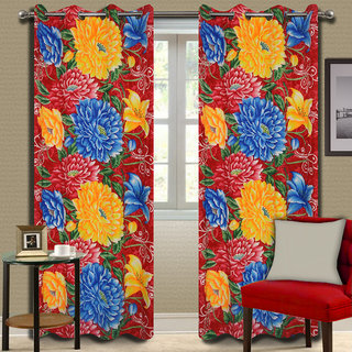 Premium Quality Fabric Fancy & Designer  2 Piece Set of Eyelet Polyester Decorative Door Curtain by ODHNA BICHONA -7Ft,Red OB-103_7ft