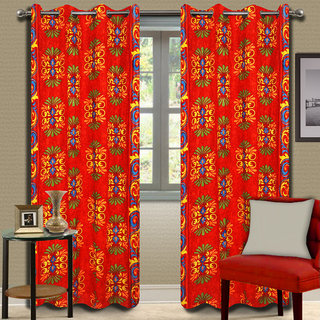 Premium Quality Fabric Fancy & Designer  2 Piece Set of Eyelet Polyester Decorative Long Door Curtain by ODHNA BICHONA -9Ft,Red OB-106_9ft