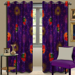 Premium Quality Fabric Fancy & Designer  2 Piece Set of Eyelet Polyester Decorative Door Curtain by ODHNA BICHONA -7Ft,Voilet OB-113_7ft