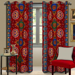 Premium Quality Fabric Fancy & Designer  2 Piece Set of Eyelet Polyester Decorative Door Curtain by ODHNA BICHONA -7Ft,Red OB-116_7ft