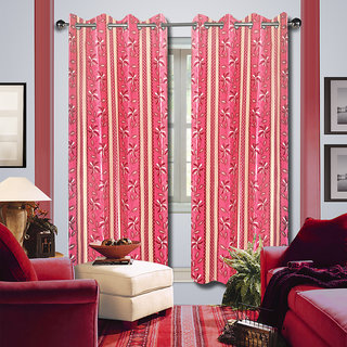 Premium Quality Fabric Fancy & Designer  2 Piece Set of Eyelet Polyester Decorative Door Curtain by ODHNA BICHONA -7Ft,Pink OB-161_7ft