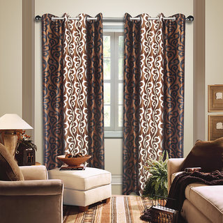 Premium Quality Fabric Fancy & Designer  2 Piece Set of Eyelet Polyester Decorative Door Curtain by ODHNA BICHONA -7Ft,Brown OB-021_7ft
