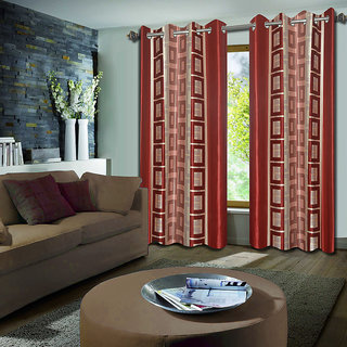 Premium Quality Fabric Fancy & Designer  2 Piece Set of Eyelet Polyester Decorative Long Door Curtain by ODHNA BICHONA -9Ft,Peach OB-047_9ft