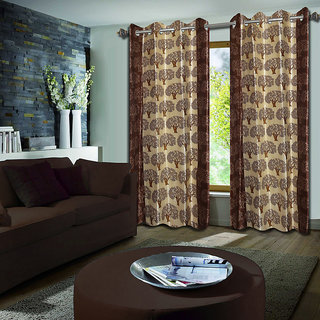 Premium Quality Fabric Fancy & Designer  2 Piece Set of Eyelet Polyester Decorative Long Door Curtain by ODHNA BICHONA -9Ft,Brown OB-053_9ft