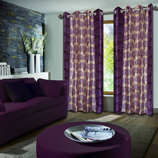 Premium Quality Fabric Fancy & Designer  2 Piece Set of Eyelet Polyester Decorative Long Door Curtain by ODHNA BICHONA -9Ft,Purple OB-054_9ft