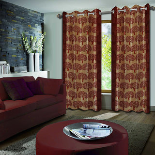 Premium Quality Fabric Fancy & Designer  2 Piece Set of Eyelet Polyester Decorative Long Door Curtain by ODHNA BICHONA -9Ft,Rust OB-055_9ft