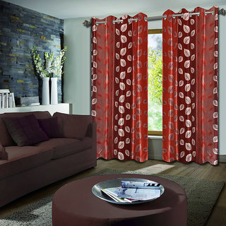 Premium Quality Fabric Fancy & Designer  2 Piece Set of Eyelet Polyester Decorative Long Door Curtain by ODHNA BICHONA -9Ft,Peach OB-060_9ft