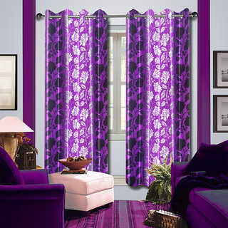 Premium Quality Fabric Fancy & Designer  2 Piece Set of Eyelet Polyester Decorative Long Door Curtain by ODHNA BICHONA -9Ft,Voilet OB-095_9ft