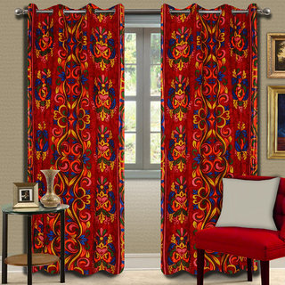 Premium Quality Fabric Fancy & Designer  2 Piece Set of Eyelet Polyester Decorative Long Door Curtain by ODHNA BICHONA -9Ft,Red OB-117_9ft