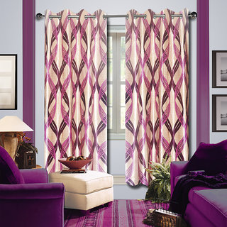 Premium Quality Fabric Fancy & Designer  2 Piece Set of Eyelet Polyester Decorative Long Door Curtain by ODHNA BICHONA -9Ft,Pink OB-135_9ft