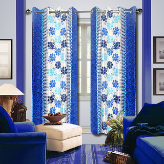 Premium Quality Fabric Fancy & Designer  2 Piece Set of Eyelet Polyester Decorative Long Door Curtain by ODHNA BICHONA -9Ft,Blue OB-136_9ft