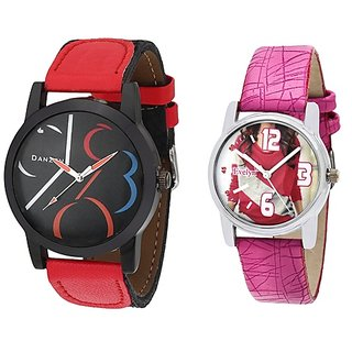 Danzen Analog Leather Watches for Lovely Couple -dz-424-eve-414