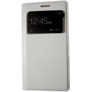 free shipping ab236 5bc98 Shree Retail Window Flip Cover For Samsung Galaxy Grand 2 (White)