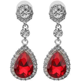 Phenovo Fashion Women Teardrop Dangle Rhinestone Crystal Earring Wedding Party Red