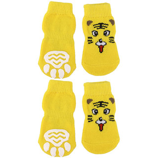 Magideal Tiger Pattern Pet Dog Puppy Cat Non-slip Socks with Cute Paw Prints Size S