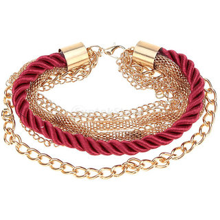 Phenovo Fashion Braided Rope Multilayer Chain Cuff Bracelet Wristband - Red