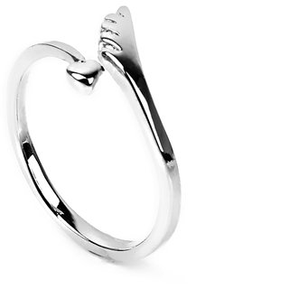 Phenovo Love Heart Women White Gold Plated Copper Finger Ring Opening Adjustable