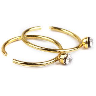 Phenovo Stainless Steel Rhinestone Nose Studs Hoops Body Piercing Rings 40Pcs Gold