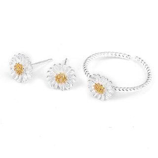 Phenovo Fashion Women Silver Earrings Stud Ring Daisy Flower Set