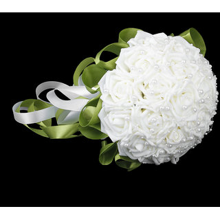 Magideal Artificial Rose Bouquet for Wedding Bridal Bridesmaid Flower Girls White