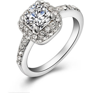 Phenovo Womens Crystal Square White Gold Plated Wedding Engagement Ring Silver US-7