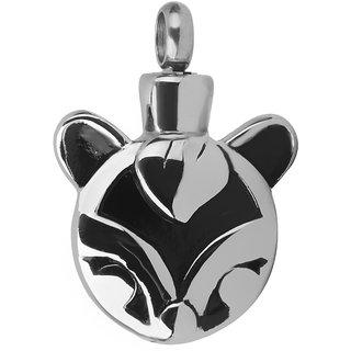 Phenovo Fox Shape Cremation Keepsake Memorial Ashes Urn Necklace Pendant Silver