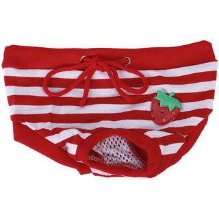 Magideal Female Pet Dog Sanitary Pant Panty Striped Diaper Brief Size M - Red & White
