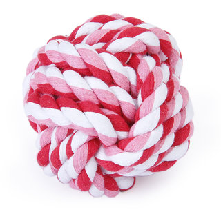 Magideal Pet Dog Braided Cotton Rope Chew Knot Play Toy Teeth Clean Ball Diameter 9cm
