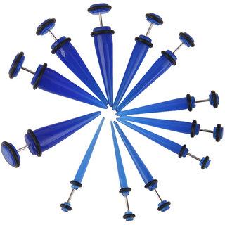 Phenovo 6 Pairs Straight Acrylic Ear Expander Stretcher Taper Plugs Blue