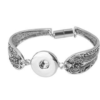 Phenovo Charm Bracelet DIY Bangle For Button Snap Charm Noosa Snap-It Jewelry