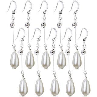 Phenovo 5 Pairs Rhinestone Teardrop Faux Pearl Earrings Ear Studs Set