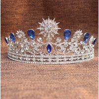 Phenovo Blue Rhinestone Head Crown Tiara Wedding Beauty Pageant Bridal Headpiece