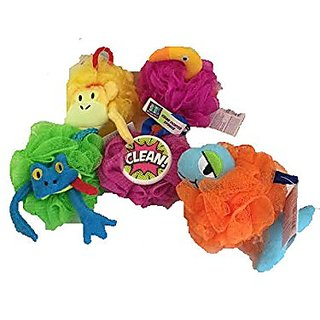 Razzable Animal Sudsy Pals Collection with Names + Grime Fighter Clean Sponge-Total 5 Sponges