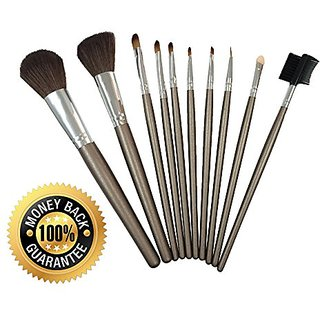 Elroyel 10 Piece Professional Grade Premium Soft Synthetic Fiber Makeup Brush Set with Free Brown Luxury Travel Essentia