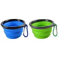 Sabuy Collapsible Pets Travel Bowl, Set Of 2, Dog Pop-up Food Water Feeder Foldable Bowls With Carabiner Clip And A Gift