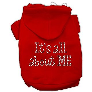 Mirage Pet Products 8-Inch Its All About Me Rhinestone Hoodies, X-Small, Red