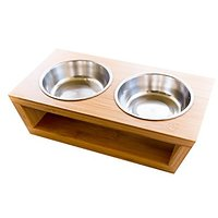 Premium Elevated Dog And Cat Pet Feeder, Double Bowl Raised Stand Comes With Extra Two Stainless Steel Bowls. Perfect Fo