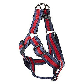 POOCHEE DESIGNS Dog Harness, Medium, Red Stripe on Navy Blue