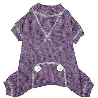FouFou Dog Thermal Pajama, Medium, Purple