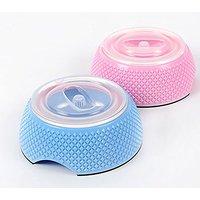 Sanzang 2 In 1 Dog Bowl Stable Pet Feeder Bottle Seal Kitten Food Water Bowl(Pink,S)