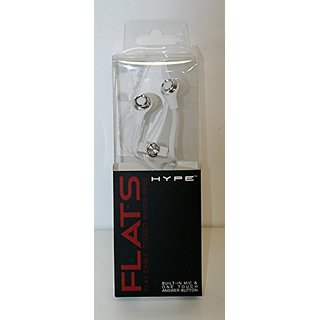 Hype Flat Cable Stereo Hands Free Earbuds White